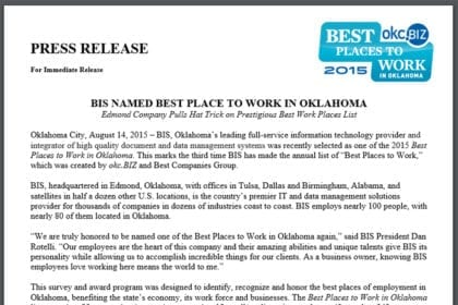 BIS Named Best Place to Work in Oklahoma