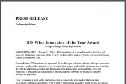 BIS Wins Innovator of the Year Award
